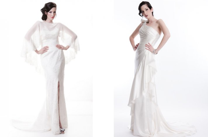 Sarah Houston wedding dresses, 2012 bridal- sleeved column with slit, one shoulder stunner