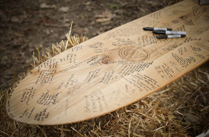 surf board wedding guest book outdoor real weddings