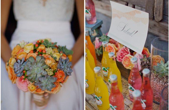 eco friendly wedding flowers succulent bridal bouquet orange pink green