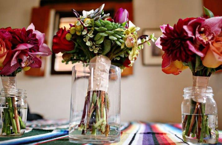 bold bridal bouquet bridesmaids flowers eco friendly succulents