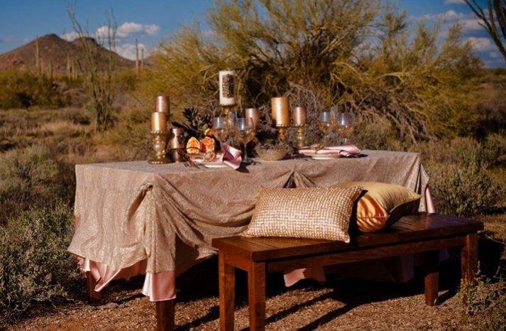rustic chic desert wedding inspiration reception tablescape
