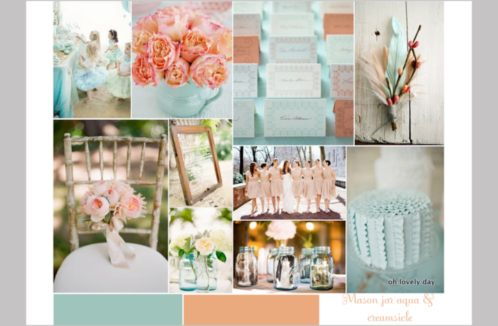 vintage wedding color palettes turquoise coral
