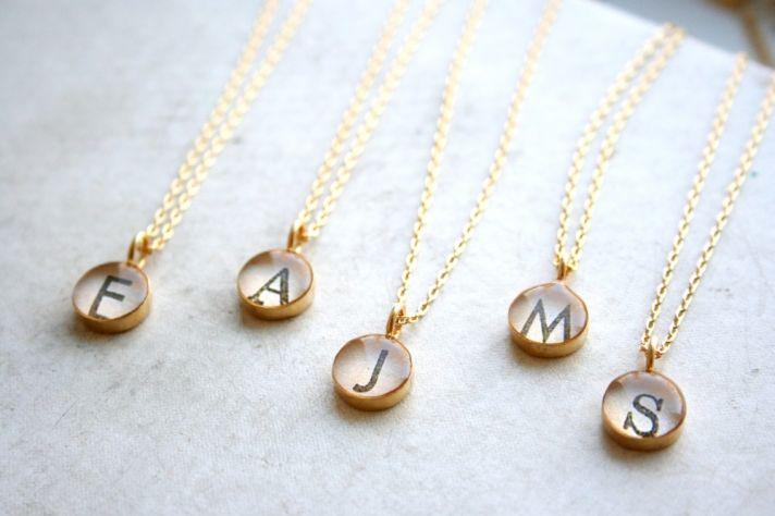 bridesmaids gifts monogram necklaces