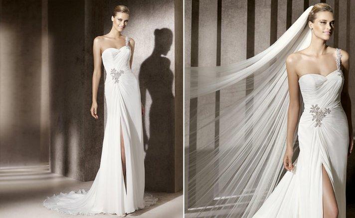 2012 wedding trends slits pronovias fashion bridal gowns