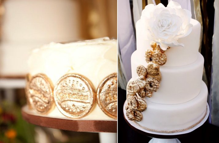 white gold wedding cake