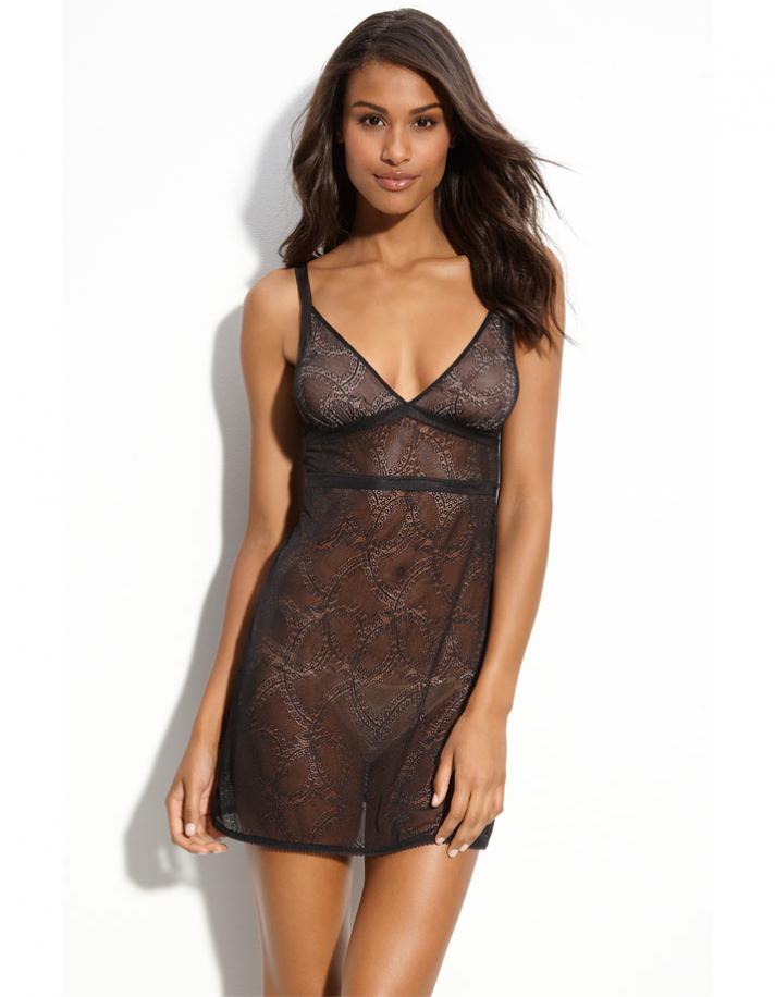 Honeymoon lingerie sheer black lace chemise from Nordstrom
