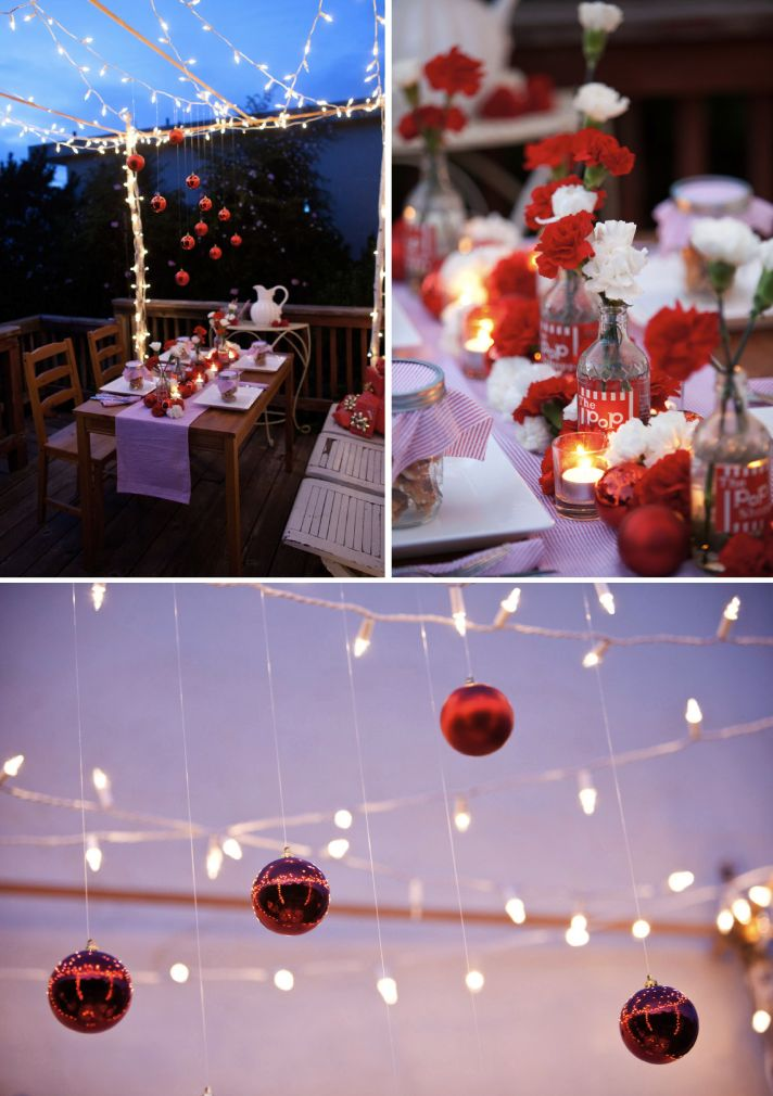 red white casual wedding taqble