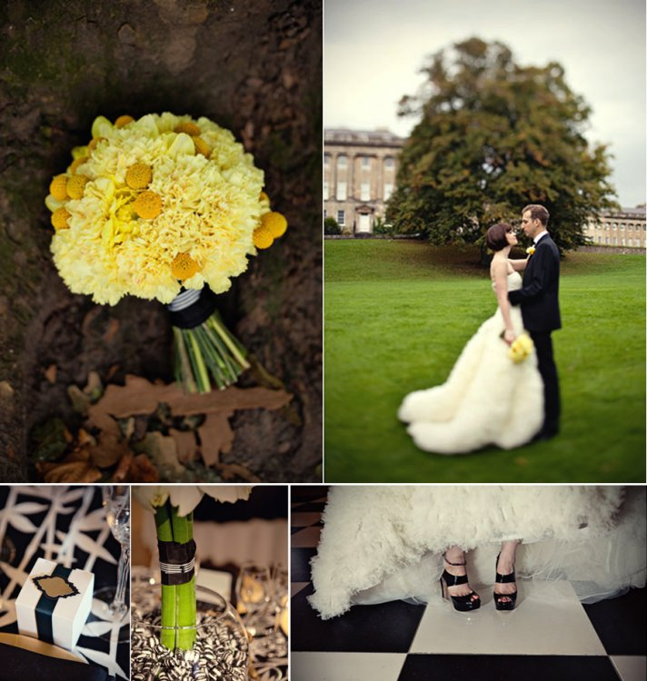Black And Yellow Wedding Flowers: Black + White Wedding With Bold/Gold Pops