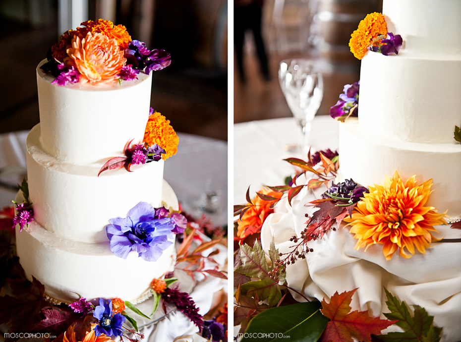 fall wedding reception white wedding cake
