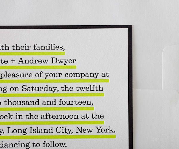 modern black white yellow wedding invitations letterpress