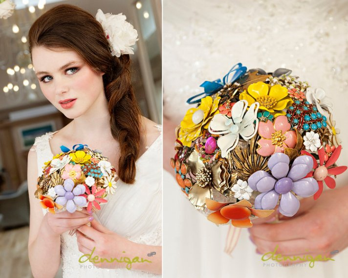brooch bridal bouquet unique wedding flowers vintage wedding style