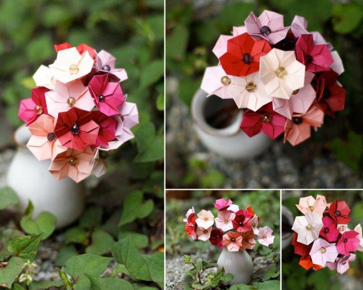 pink wedding flowers paper bridal bouquet