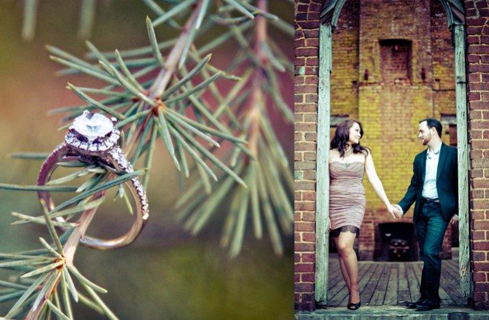 round diamond engagement ring engagement session photos
