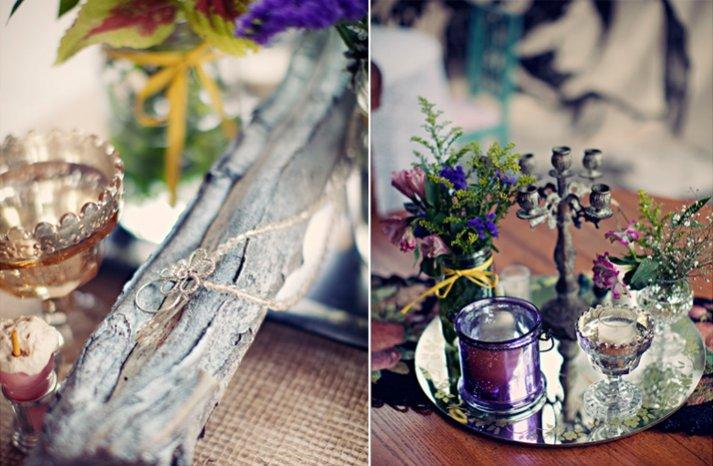 outdoor bohemian wedding antique recdeption decor