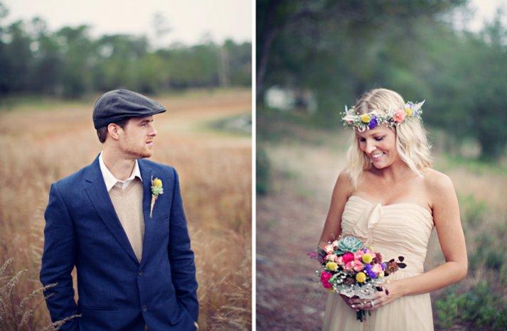 outdoor wedding bohemian bridal wedding hair wreath