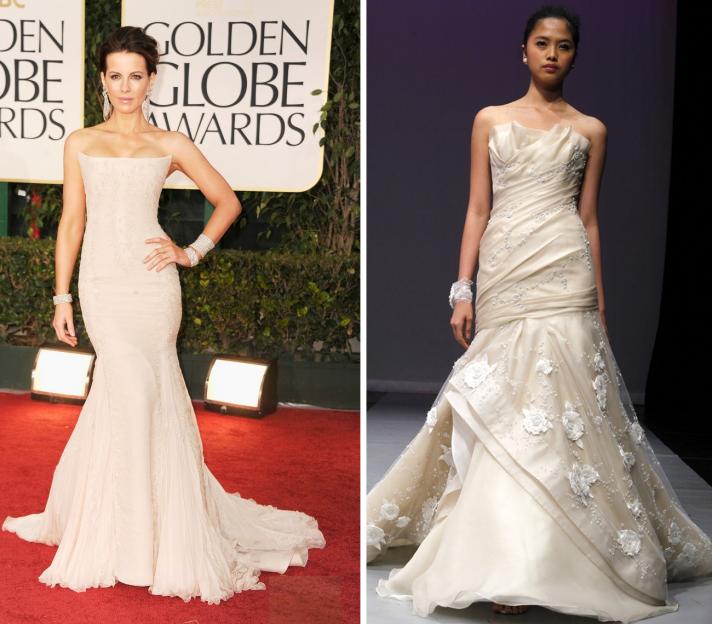 kate beckinsale golden globes 2012 wedding dress ideas strapless