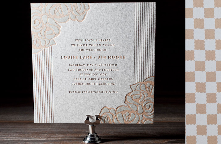 wedding invitations 2012 romantic letterpress sky blue tan