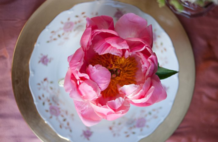 vintage wedding style pink peony wedding flowers