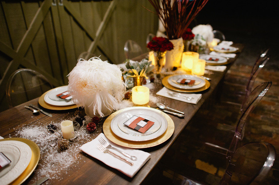 Sherisses blog the idea was that the pew flowers would be brought vintage winter wedding decor reception tablescape feather centerpieces junglespirit Choice Image