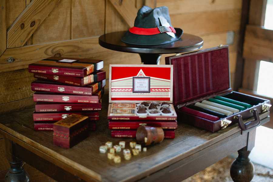 vintage poker wedding reception theme Credit The Studio B Photography