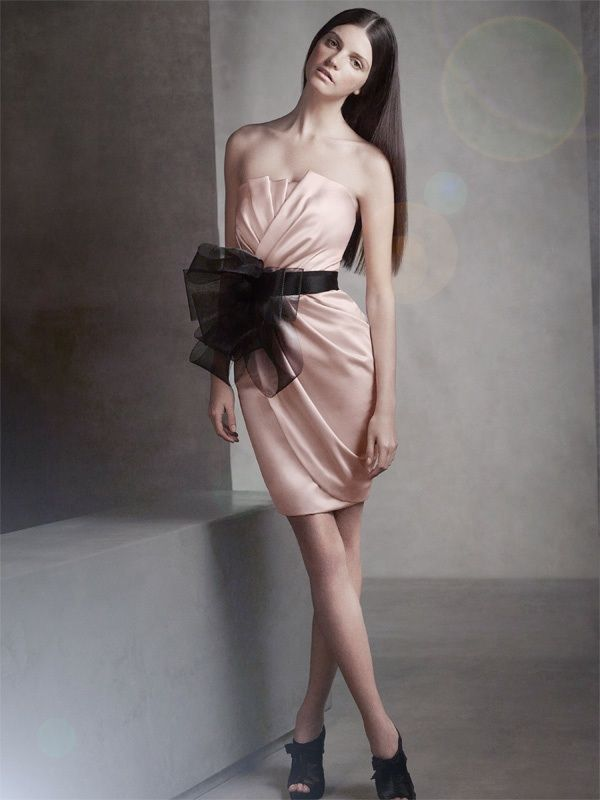 white by vera wang 2012 bridesmaid dress pink satin strapless