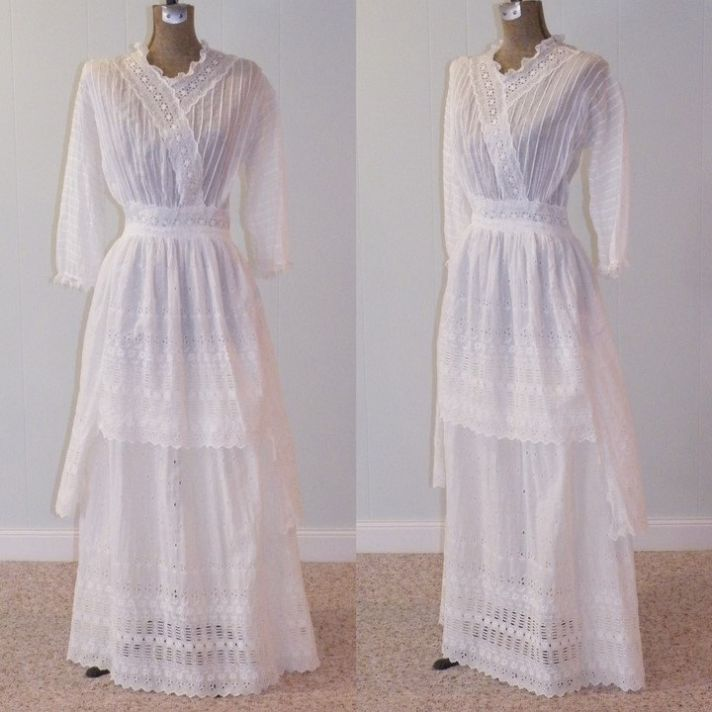 antique edwardian wedding dress crochet white