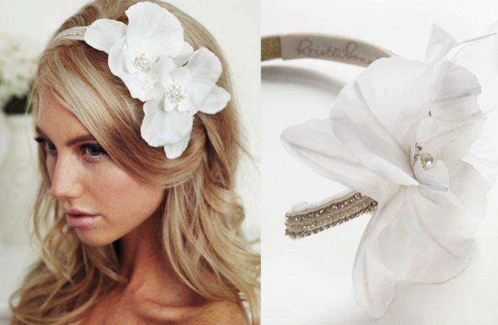 chic bridal headband white silk flower