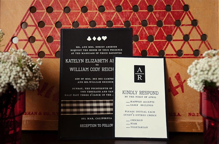 black white red wedding invitations board game themed
