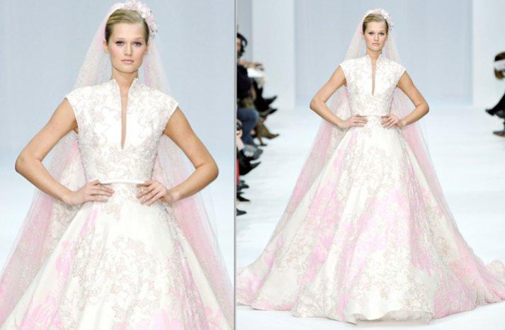 2012 elie saab couture wedding dress light pink beaded sleeves