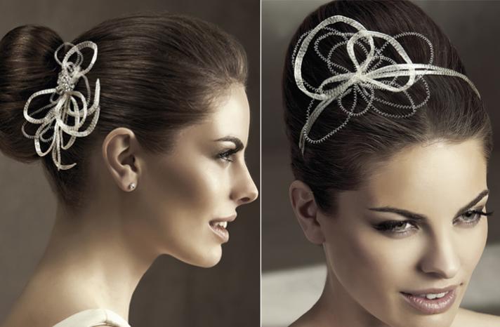 2012 acessórios do cabelo do casamento penteados de noiva Pronovias redemoinhos modernos