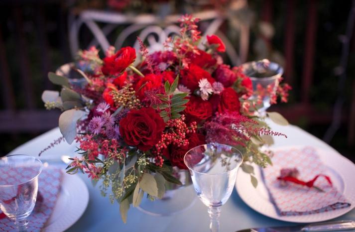 romantic red rose wedding flower centerpiece