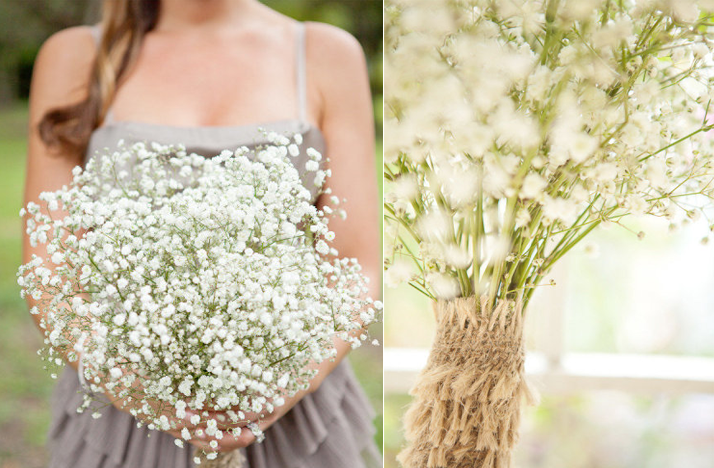 babys breath bridesmaid bouquet budget wedding ideas