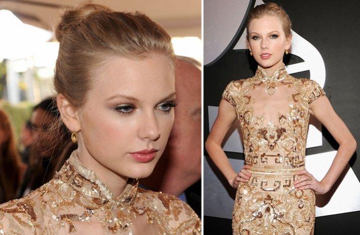 2012 grammys taylor swift wedding hair ballerina bun natural bridal makeup