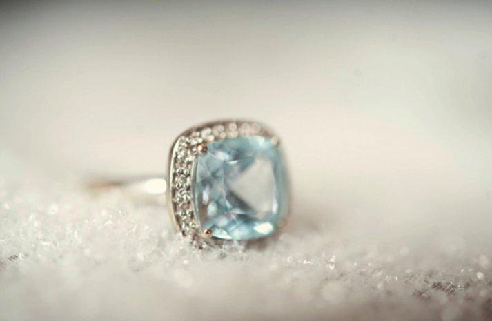 non diamond engagement ring cushion cut blue gemstone