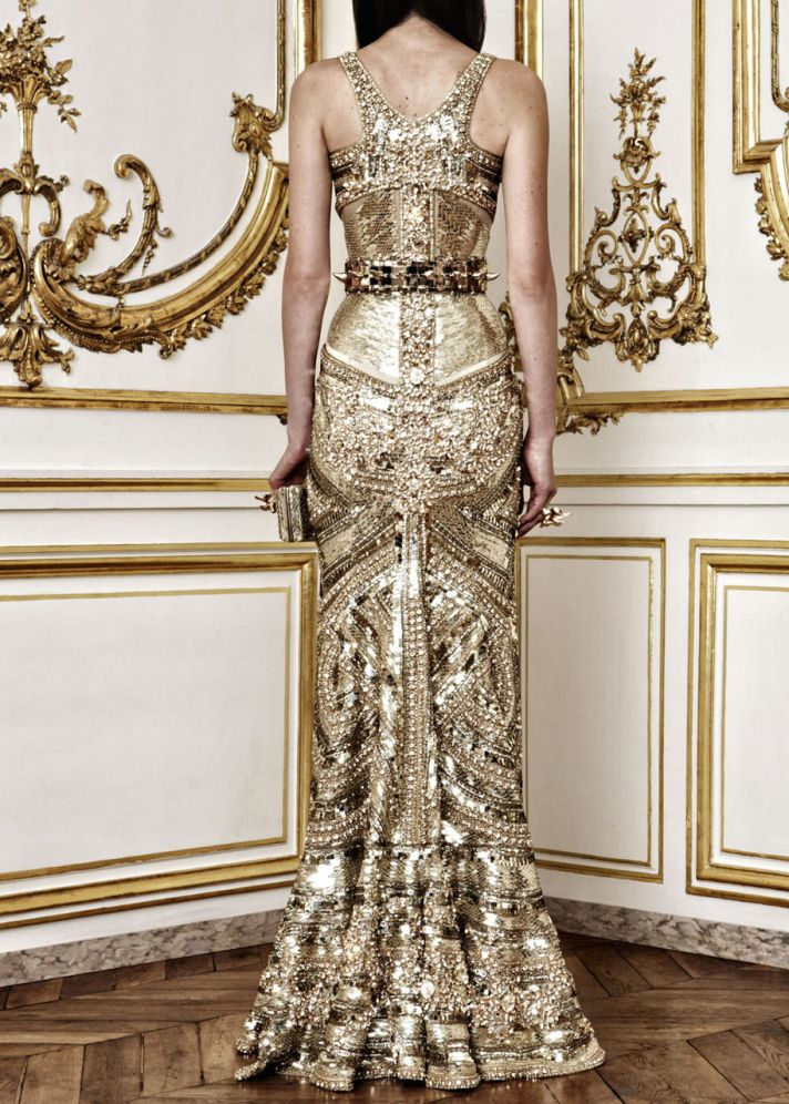 gold gilded wedding dress alexander mcqueen