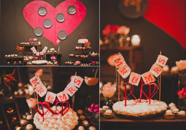 wedding reception dessert bar pink red wedding colors