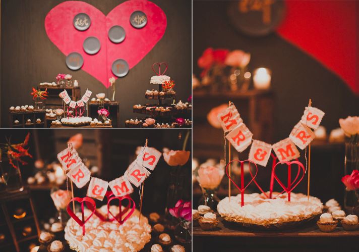 wedding reception dessert bar pink red wedding colors Studio Castillero