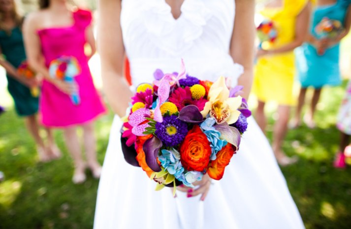 Bridal Bouquet With Color : Bright bridal bouquets onewed