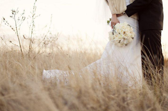 fall winter weddings romantic wedding photo bride groom outside