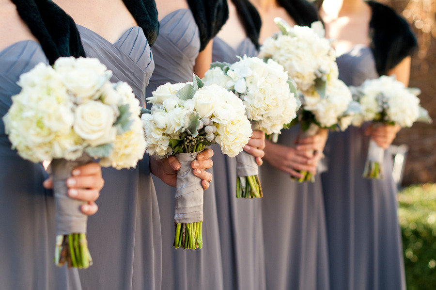 Bridesmaids Wear Grey Black Shrugs Ivory Wedding Flowers Bouquets