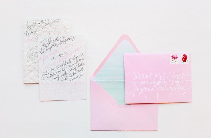 light pink wedding invitation envelopes modern calligraphy