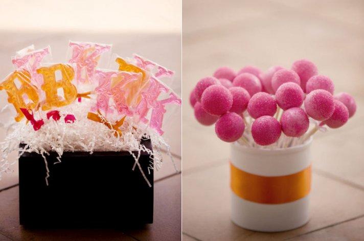 pink orange wedding color palette personalized guest favors
