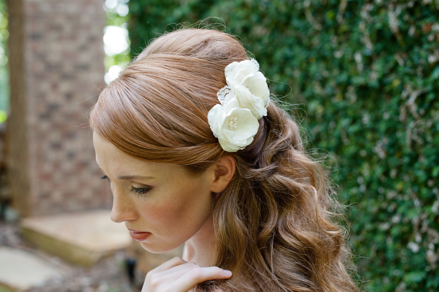 Wedding Hairstyle All Down : Wedding hairstyles flowers hair short