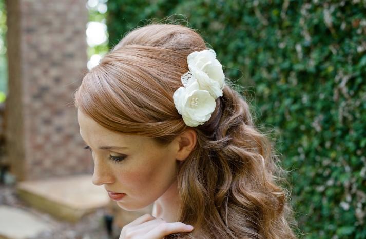 romantic wedding hair flowers all down bridal hairstyle