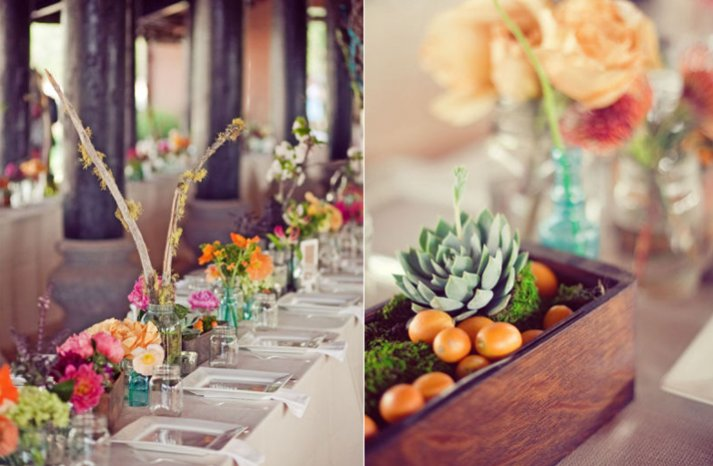 colorful barn wedding outdoor reception table