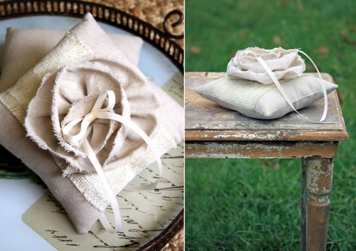rustic chic wedding ideas burlap ring bearer pillow
