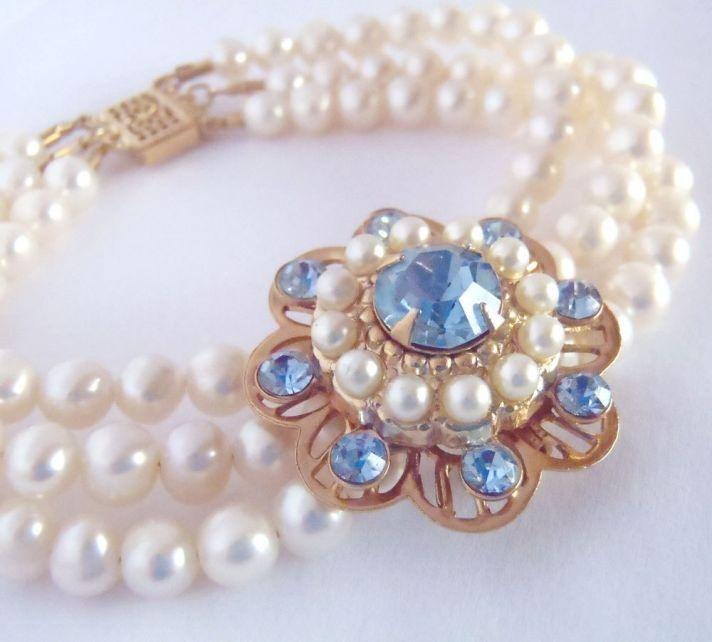 bridal style wedding ideas something blue etsy vintage bracelet Upcycled