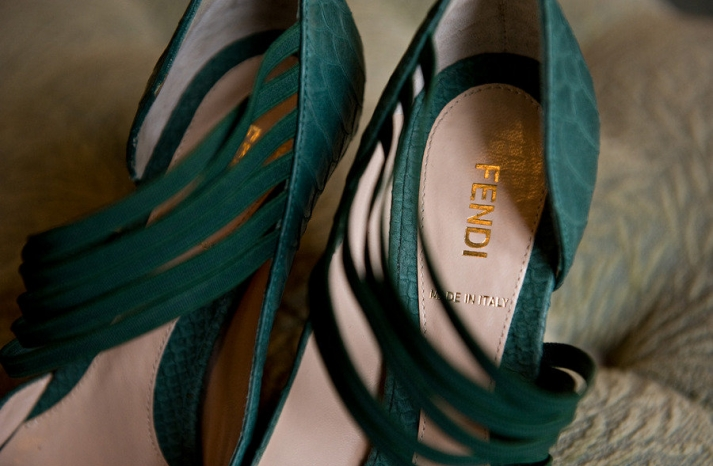 weddings by color green bridal shoes Fendi