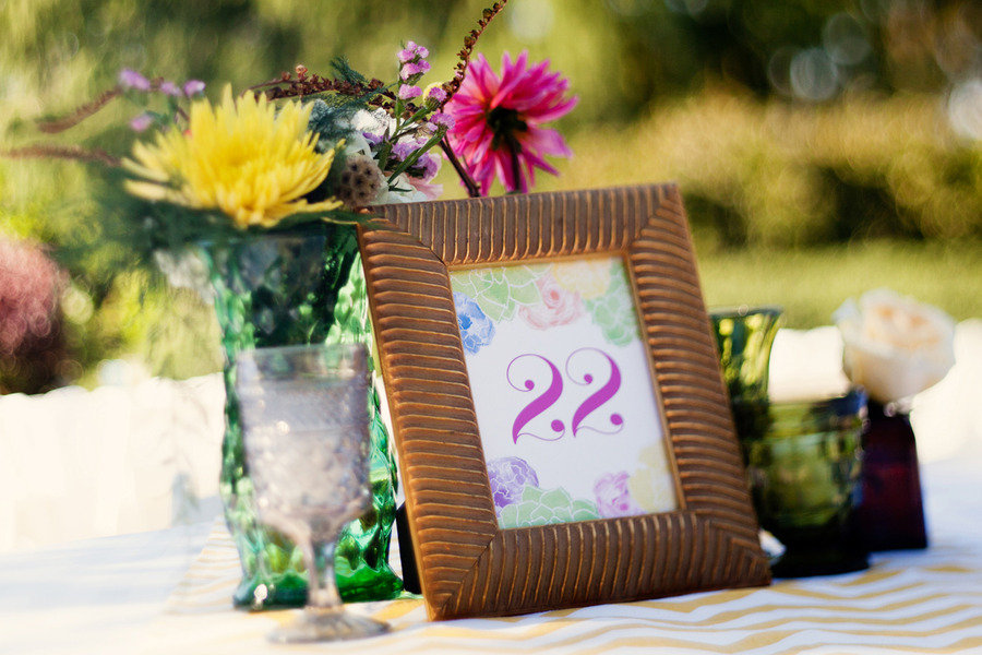 outdoor wedding reception tropical table numbers
