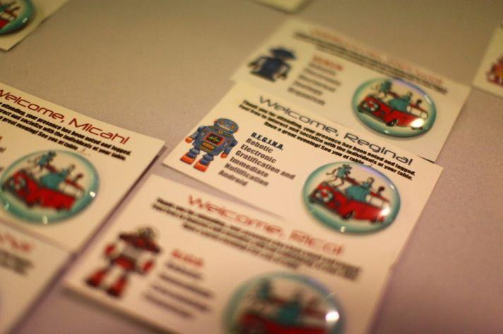 robot wedding reception escort cards
